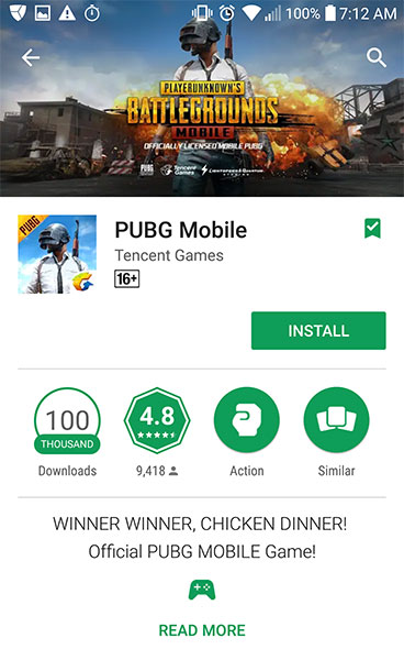 PUBG Mobile App on CH Play