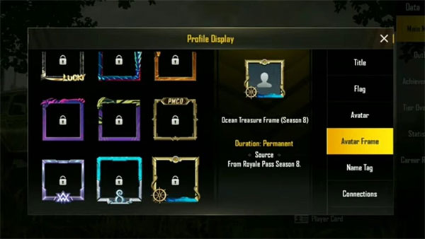 Avatar frame in PUBG Mobile Season 8