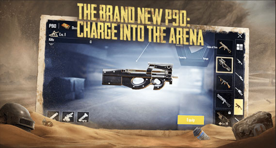 New Weapon - P90 put in PUBG Mobile Patch Notes 0.18.0