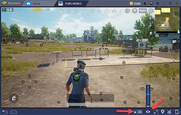 The keymap on Bluestacks 4 screen