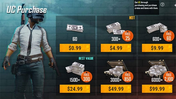 PUBG Mobile UC and AG cash
